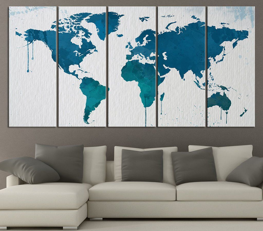 Large wall art blue and turquoise world map on watercolor paper
