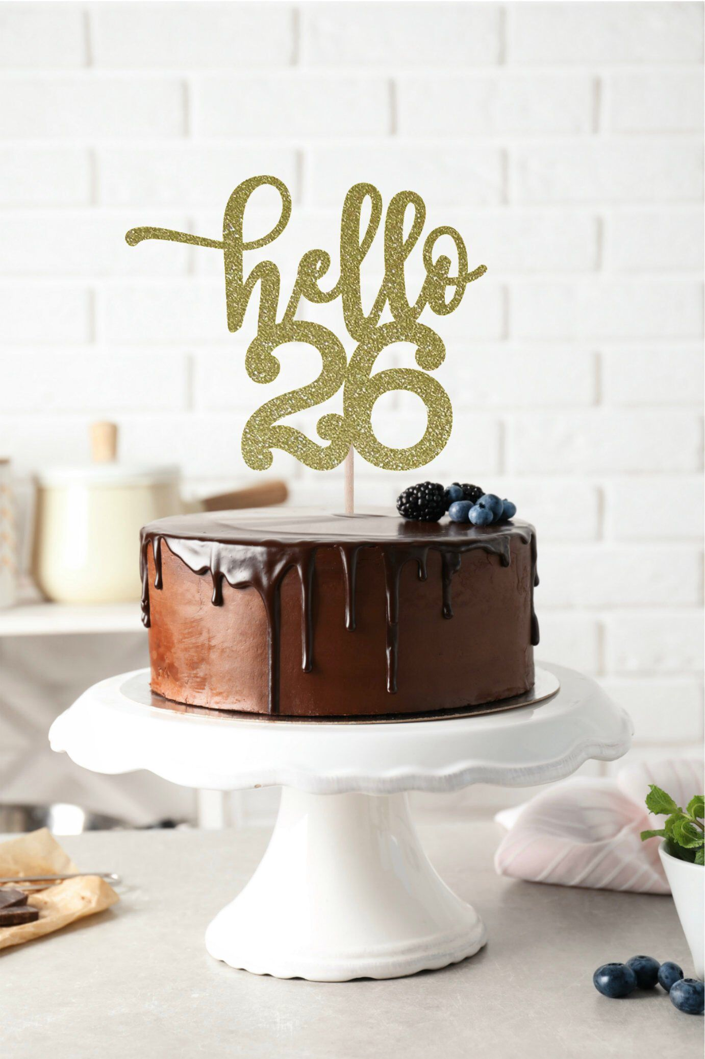 Hello 26 Glitter Cake Topper Any Age 26th Birthday