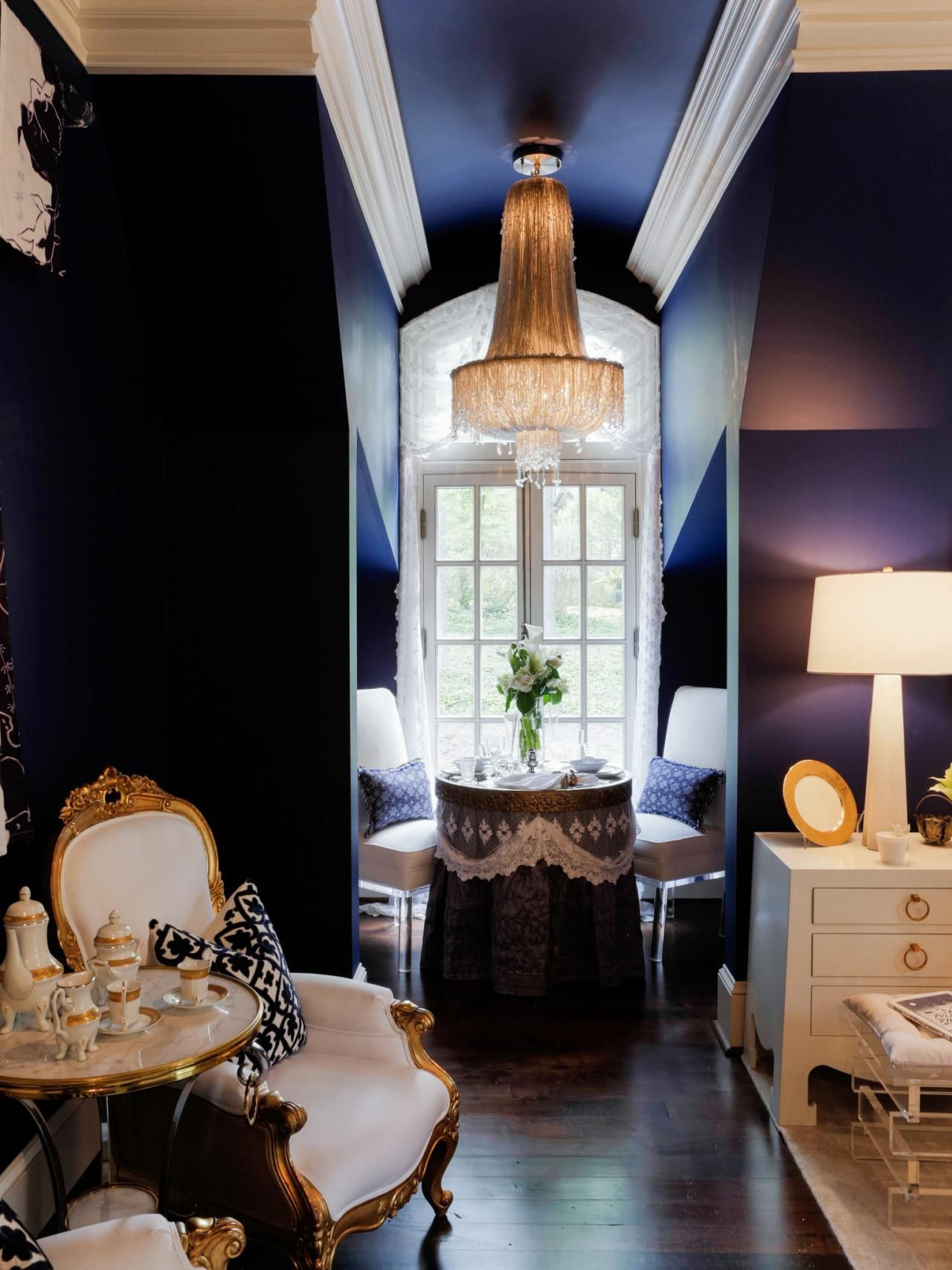 Luxury Showcase For Living Room Royal Art Deco: Dark Eggplant Walls Create An Opulent Backdrop In This