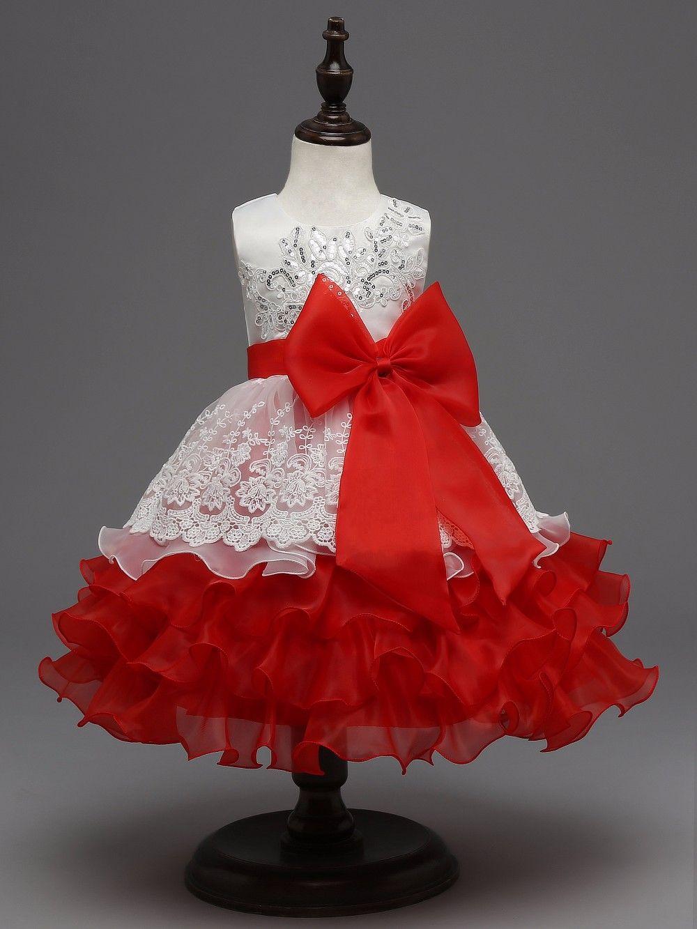 Sequin formal evening gown flower wedding princess dress girls