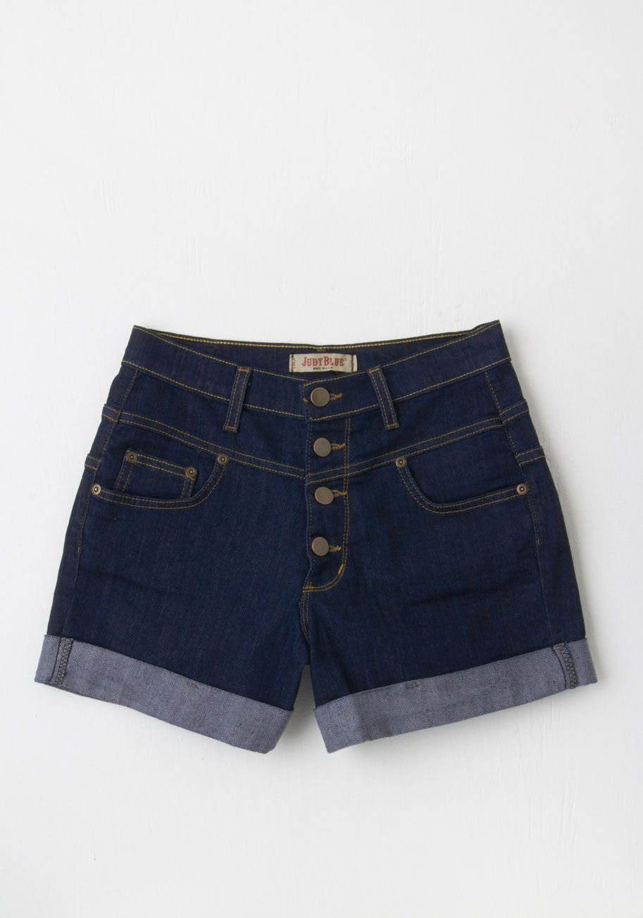 26be4aee285 Karaoke Seamstress High-Waisted Shorts in Dark Wash