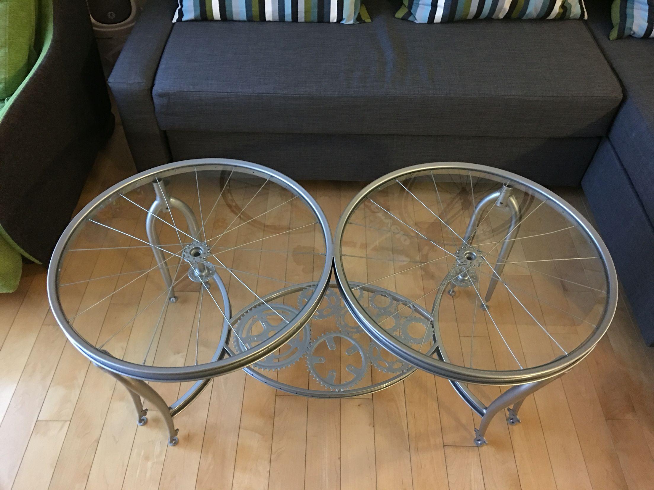 Custom Bicycle Wheels Coffee Table Table Furniture Decor