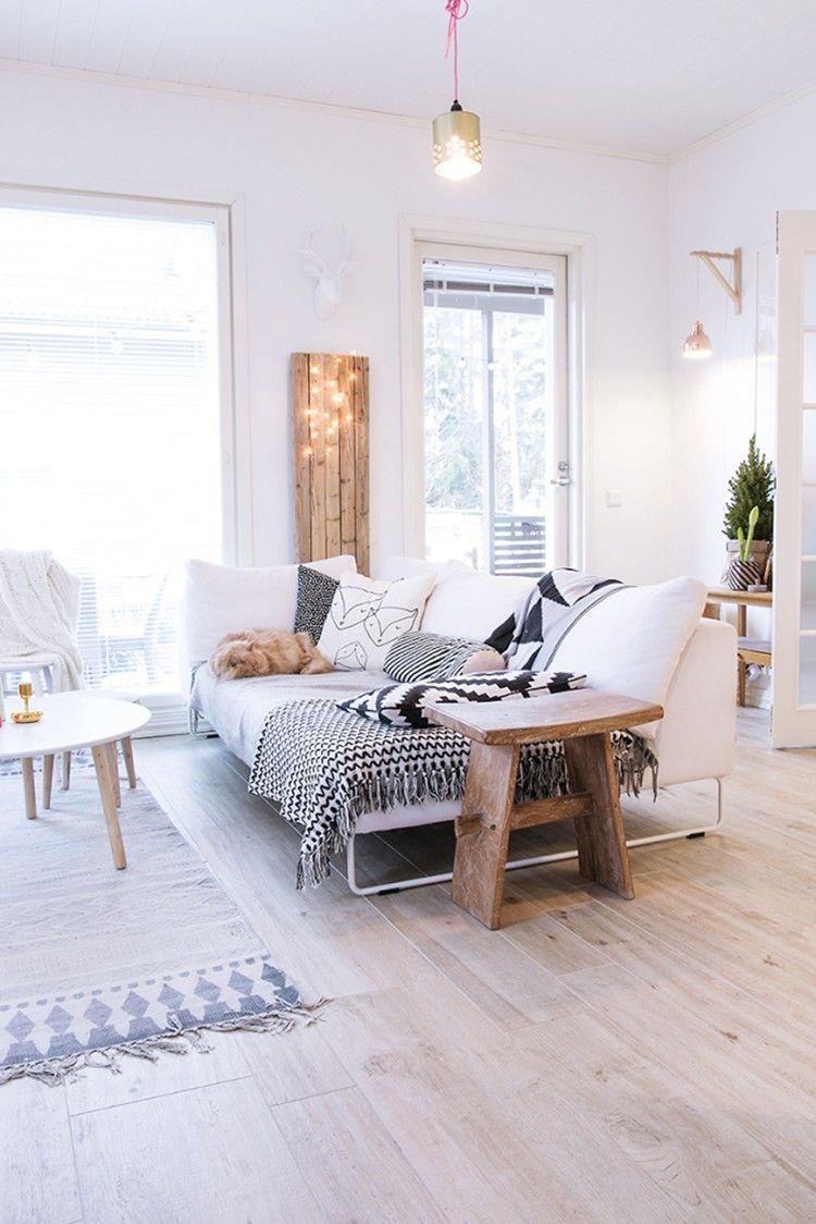 100 Incroyable Idées Salon Blanc Et Bois