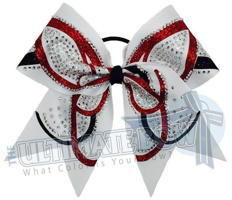 team bows Rhinestone glitter black cheer bows cheerleading team bows