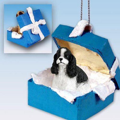 Cocker Spaniel Black White Dog Blue Gift Box Ornament