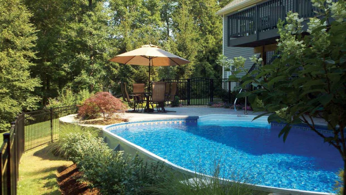 radiant semi inground pools pool ideaspatio - Inground Pool Patio Designs