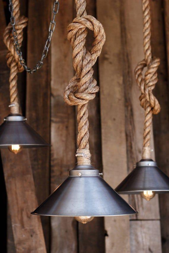 The Factory Steel Pendant Light - Industrial Manila Rope Lighting - Rustic Swag Ceiling Lamp - Metal Shade Hanging Light Fixture