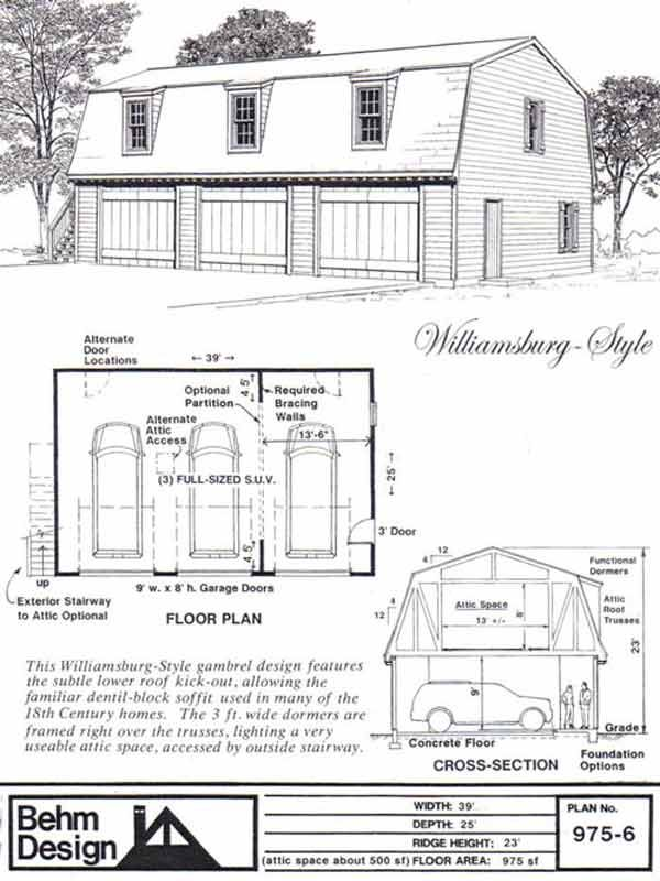 Colonial style gambrel 3 car garage plan with loft 975 6 for 2 story garage plans with loft