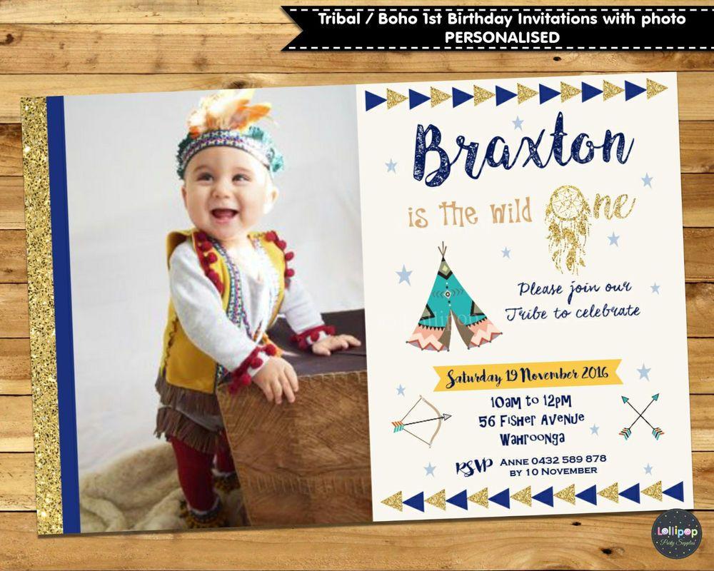 Tribal boho 1st first birthday invitation invites party photo teepee ...