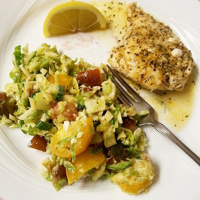 Lemon chicken with shaved Brussel Sprout salad