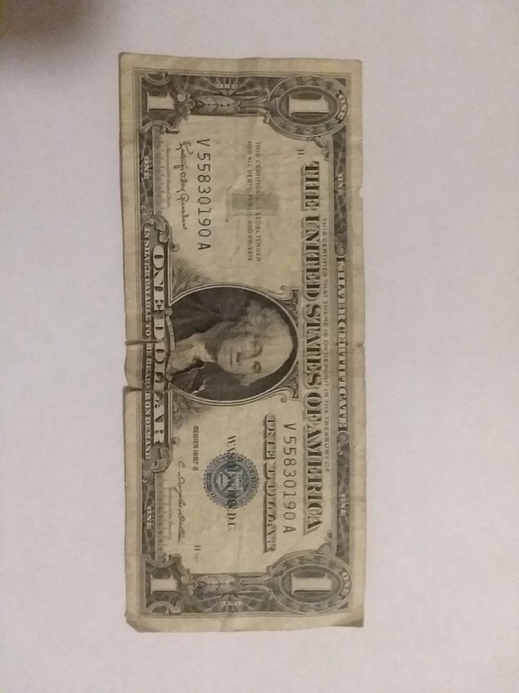 1957 B Silver Certificate Blue Seal Note One Dollar Bill Circulated