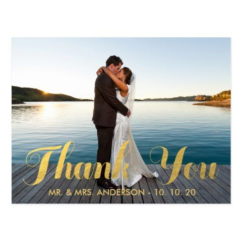 Simple Wedding Thank You Cards FAUX GOLD FOIL WEDDING PHOTO THANK YOU POSTCARD