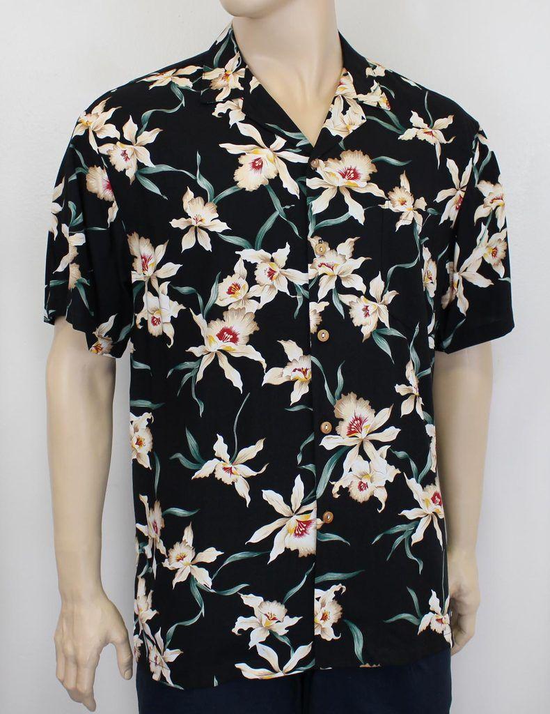 38d1edb984 Men's Star Orchid Magnum P.I. Rayon Aloha Shirt #PF-SO-black in 2019 ...