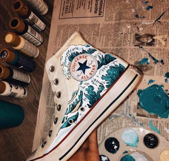 shoe diy #coverse #shoes #ocean #vsco #paints
