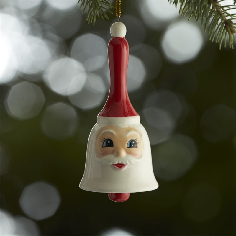 Bell Decorations Ceramic Santa Bell Ornament  Crate And Barrel  Christmas