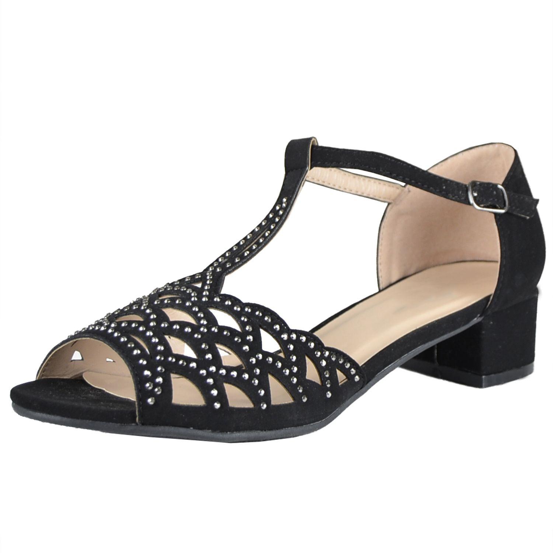 Black dress sandals medium heel - Womens Dress Sandals Chunky Heel Cutout Accented Shoes Black