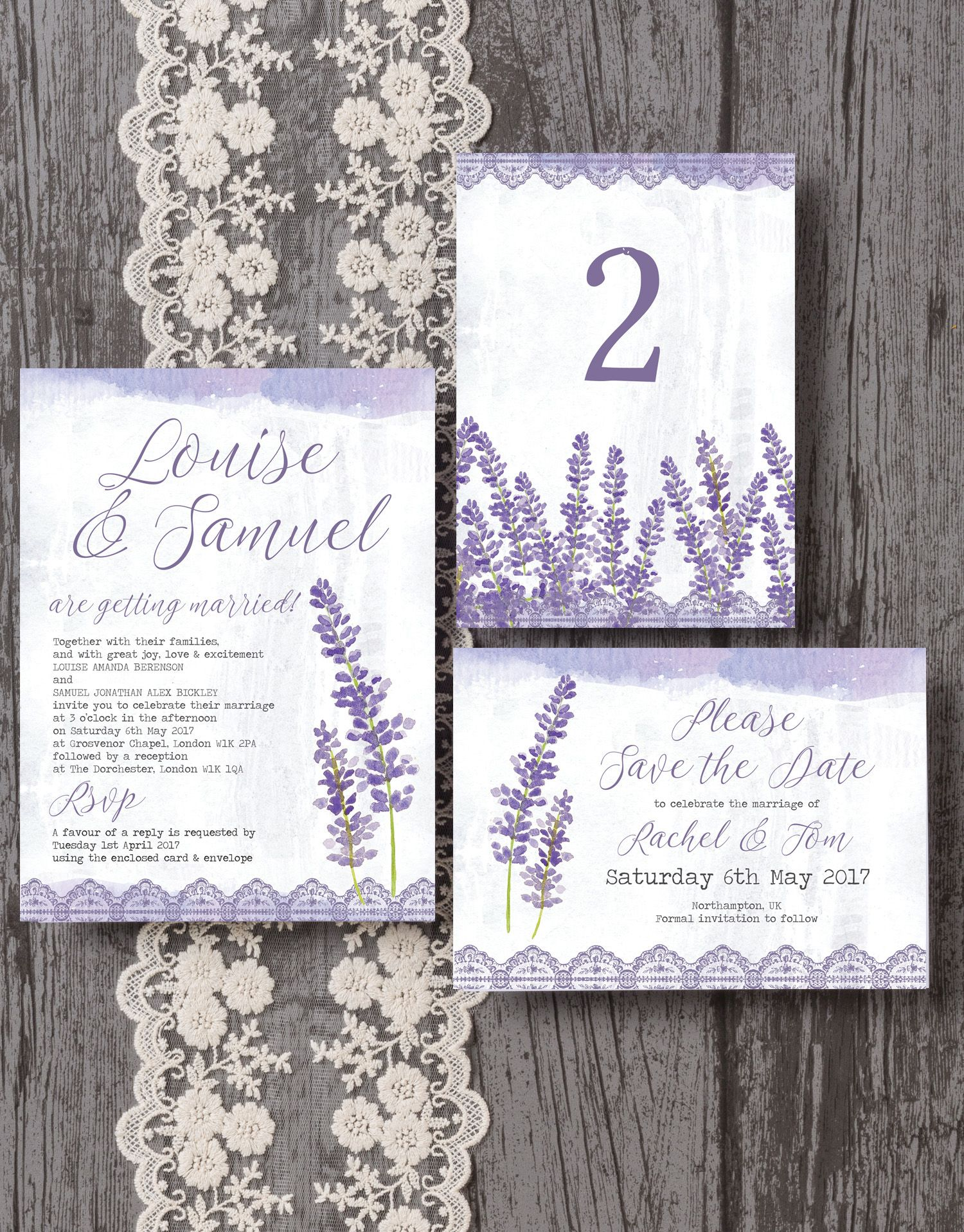beautiful lavender inspired wedding stationery. With lavender ...