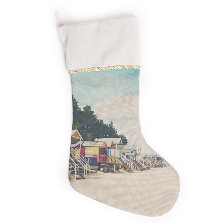 laura evans small spaces beach coastal christmas stocking - Coastal Christmas Stockings