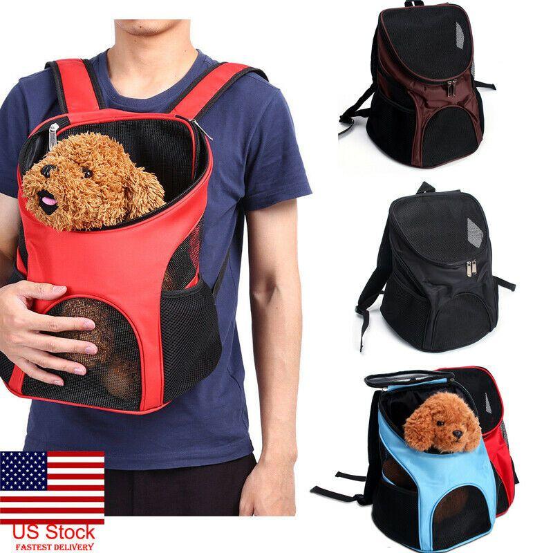 Outdoor Double Shoulder Dog Bag Backpack Pet Travel Dog Carrier Mesh Windows New