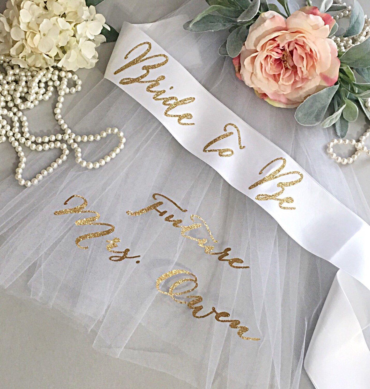 Bachelorette sash future mrs veil bridal shower