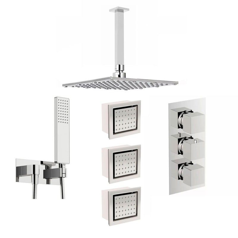 Mode Spa Complete Square Thermostatic Triple Shower Valve With