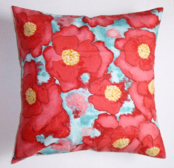 Throw Pillow Cover 40X40 Laura Gunn's Worn Poppy Toss Pillow Custom Poppy Floral Decorative Pillows