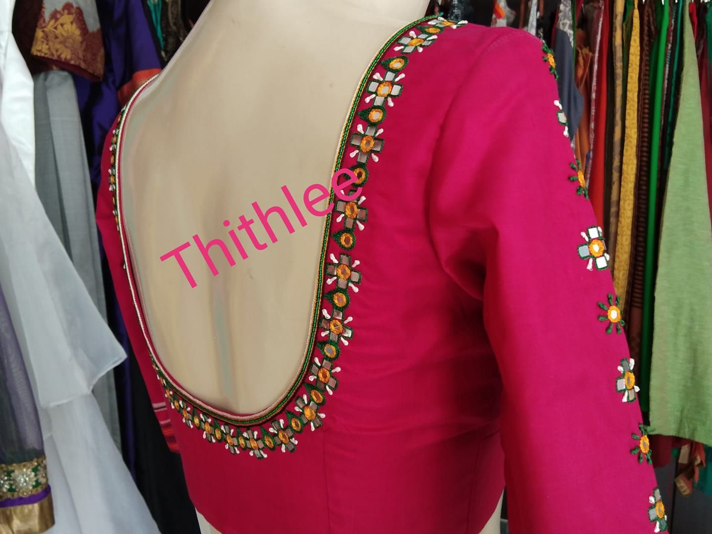 Beautiful Pink Color Designer Blouse With Simple Floral Design Hand