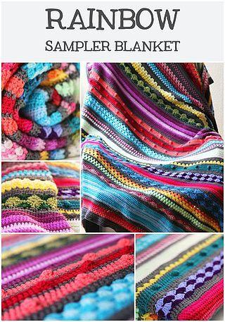 Free crochet pattern: Rainbow sampler blanket (Haak Maar Raak ...