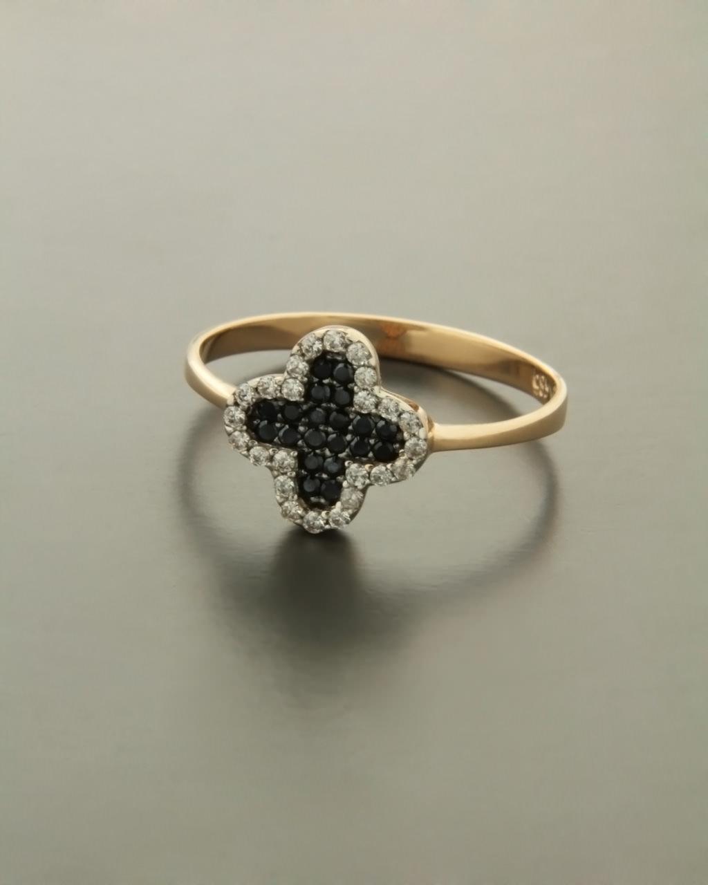 Δαχτυλίδι σταυρός ροζ χρυσό Κ14 με Ζιργκόν  42e52439dad