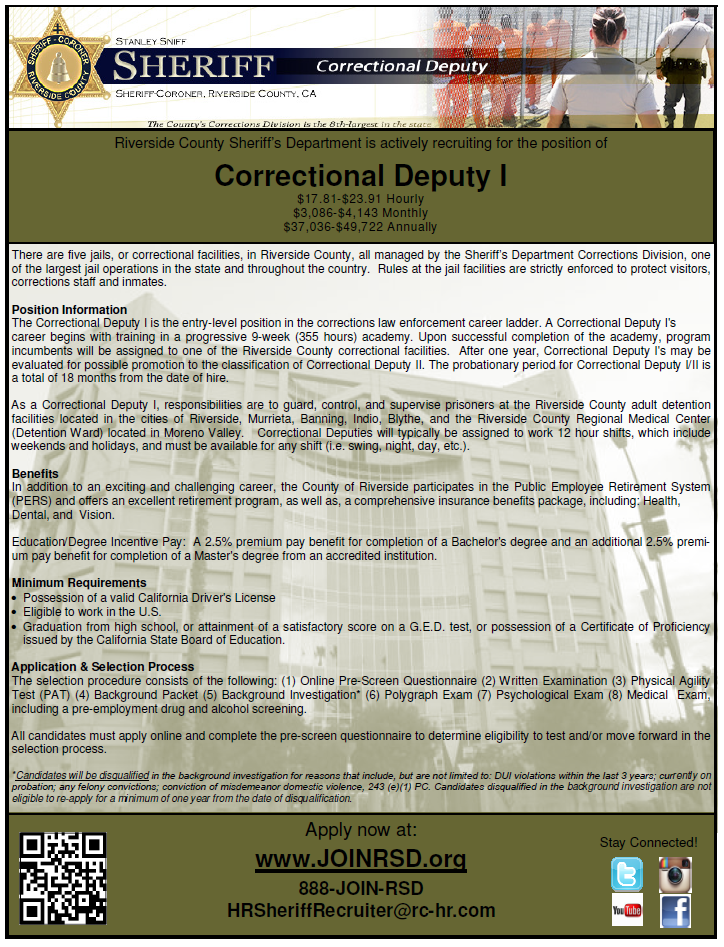 Rcsd Is Currently Hiring For Correctional Deputy I Apply Now At Www Joinrsd Org Rcsd Rso Riversidesheriff Riverside County Riverside County Sheriff Jail