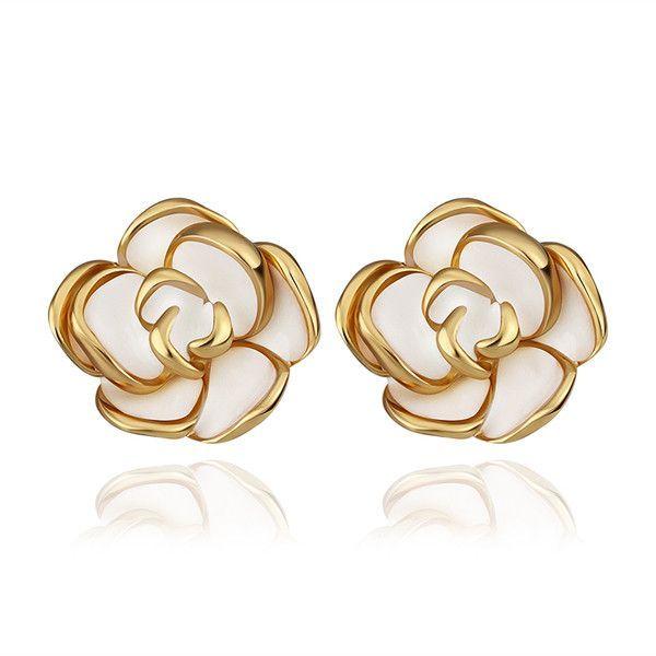 Flower Design 24 Carat Gold Plated Stud Earring White Resin Background Elegant And Fashionable Pendientes Joyas