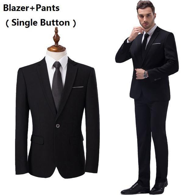 244e61744cf (Blazer+Pants+Vest) 3 Pieces Men Suit Slim Fit Wedding Business Wear Formal  Men Suit Black Elegant