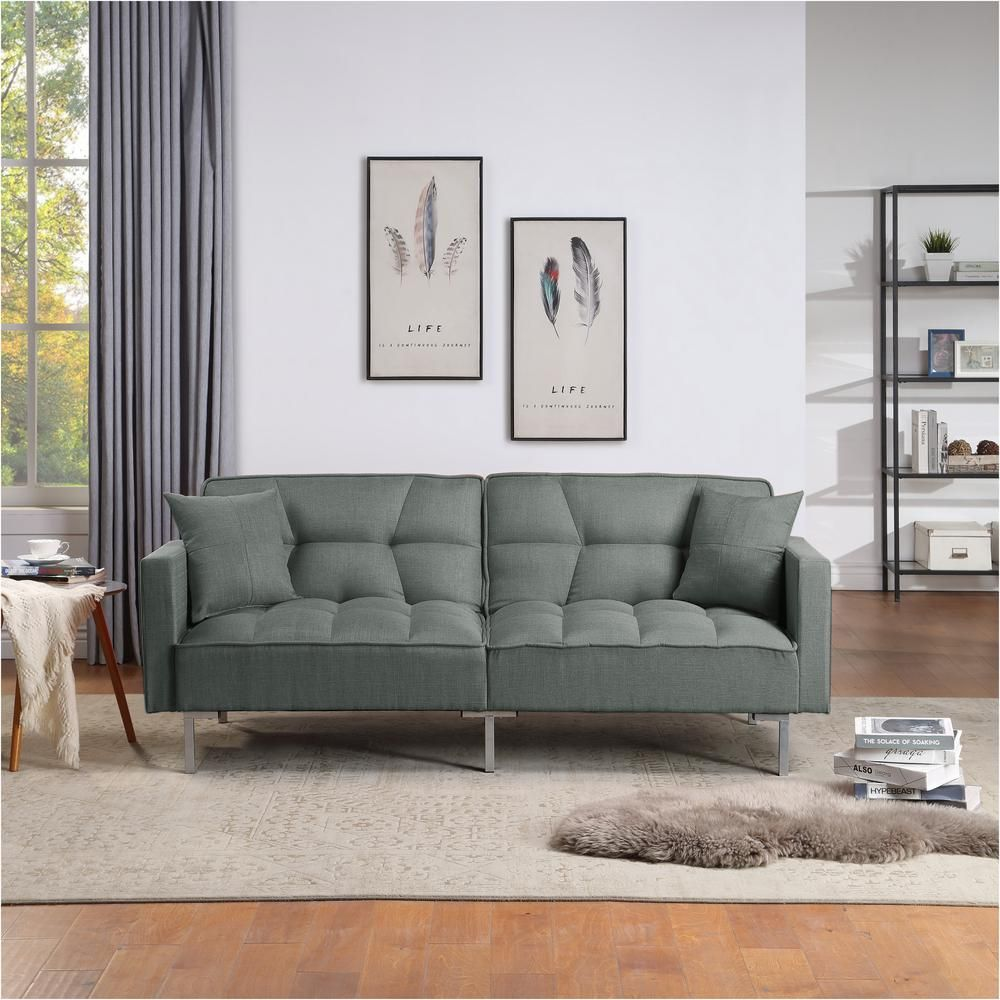Harper Bright Designs Drak Gray Upholstery Fabric Sofa Bed