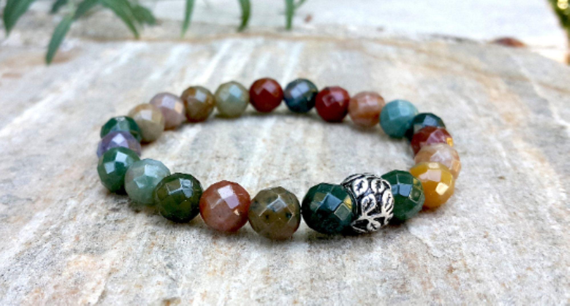 Indian agate gemstone bracelet with silver leaf bead 8mm