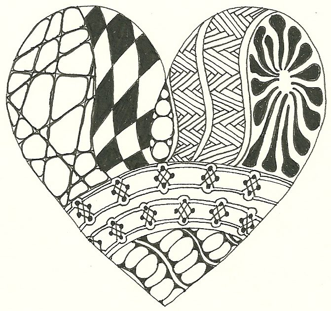 heart zentangle coloring pages - photo#21