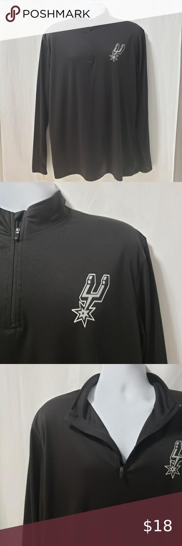 San Antonio Spurs Quarter Zip Sweatshirt Men S Xl In 2020 Quarter Zip Sweatshirt Mens Sweatshirts Long Sleeve Tshirt Men [ 1740 x 580 Pixel ]