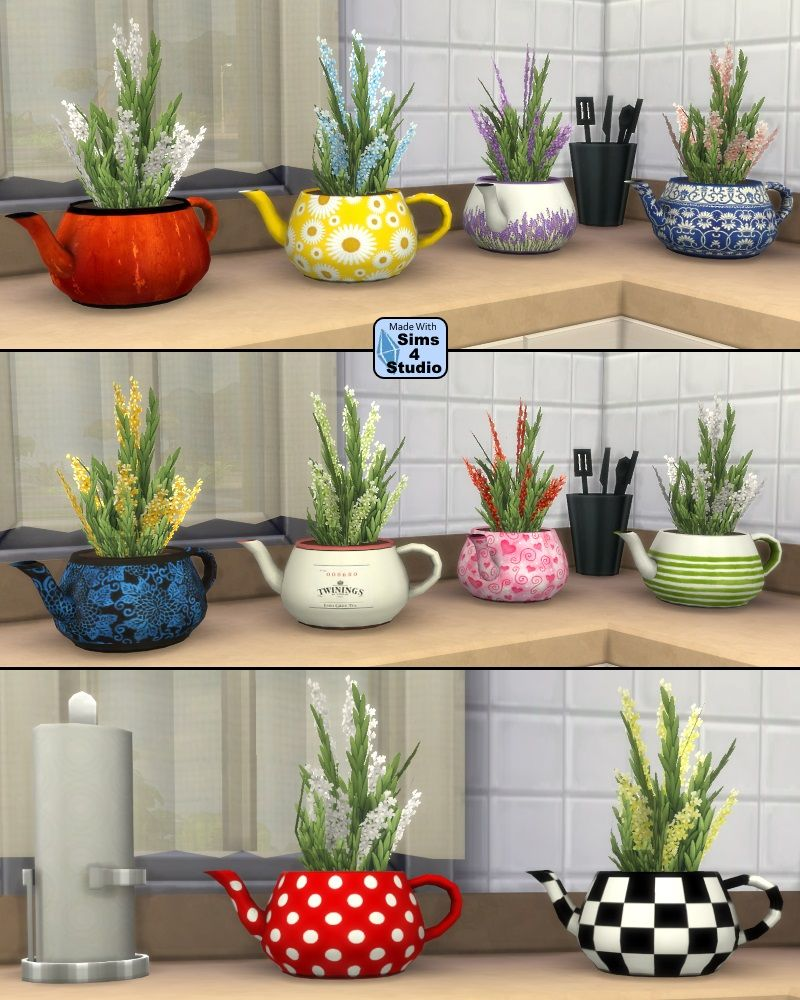 Teapot Planter with Herbs by OM | Sims 4 Studio | Teapot