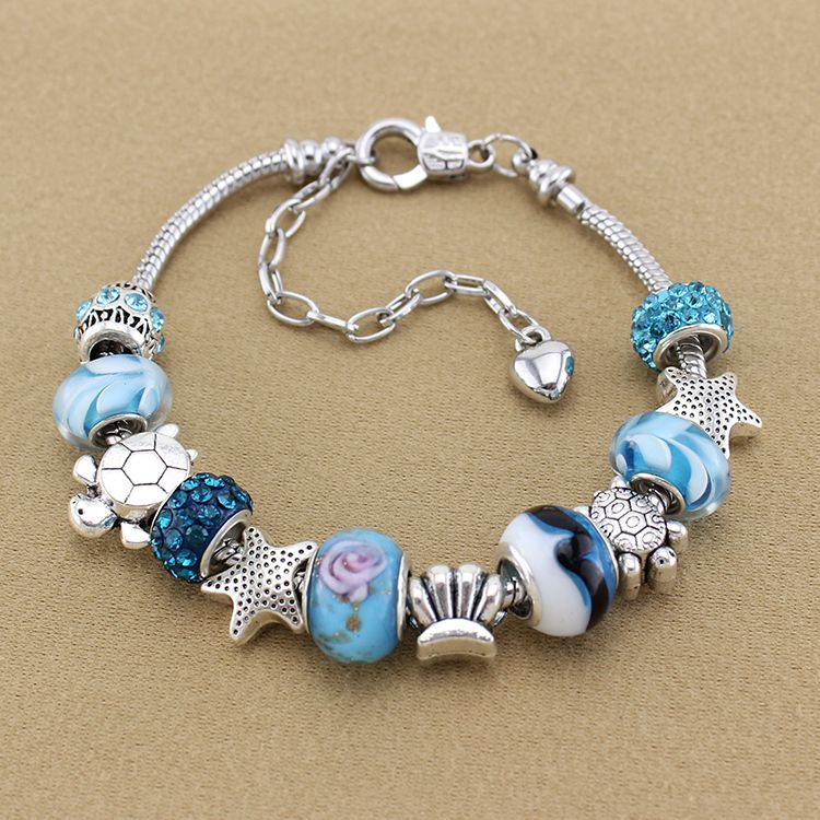 Directly From China Suppliers 925 Sterling Silver Charm Heart Crown Bracelets Bangles Murano Blue Gl European Beads Fits Pandora Style Brac