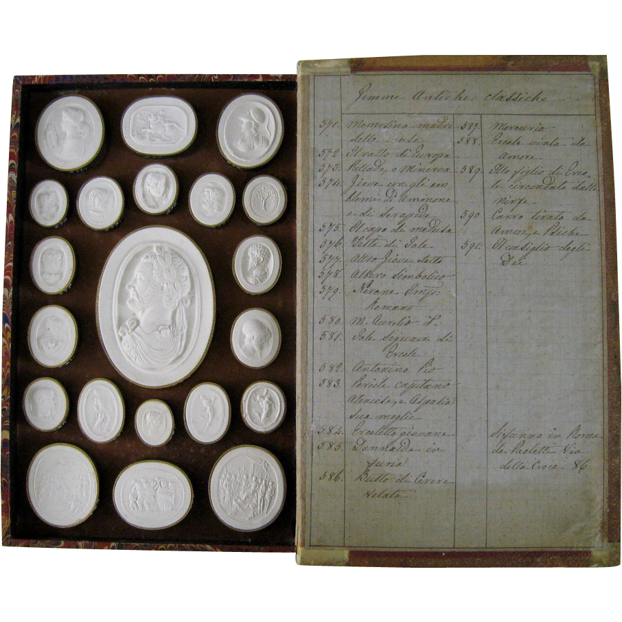 Decorative Fake Book Boxes Antique Grand Tour Plaster Intaglios C1820 Paoletti Impronte Faux