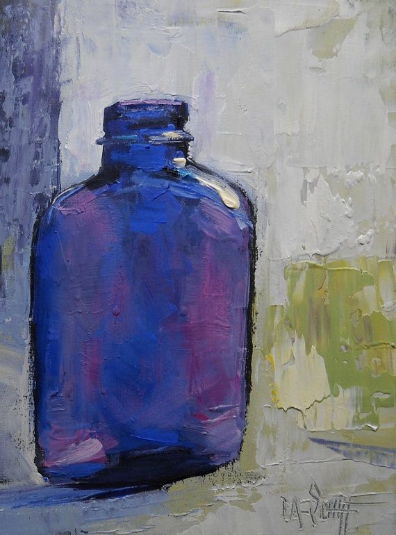 Still life Oil Painting  bottle painting  by CarolSchiffStudio, $99.95