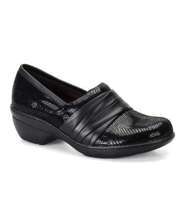 Look what I found on #zulily! Black Patchwork Bayonne Leather Clog #zulilyfinds