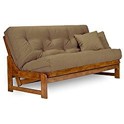 Arden Futon Set Full Size Futon Frame With Mattress Included 8 Inch Thick Mattress Twill Khaki Color More Colors Available Heavy Duty Wood Popular Sofa Futon Sets Futon Futon Frame Futon bed with mattress included