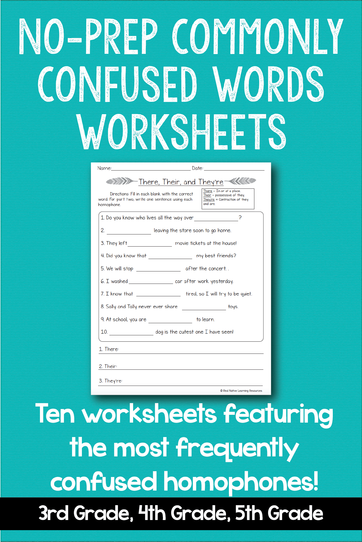 Common Homophones No Prep Worksheets