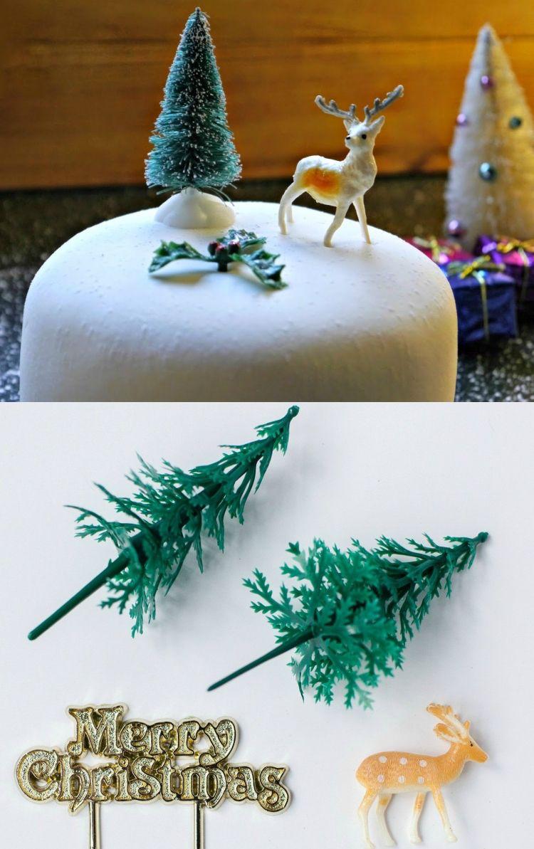 kuchen weihnachten dekorieren kunststoffiguren reh tannenbaum ...