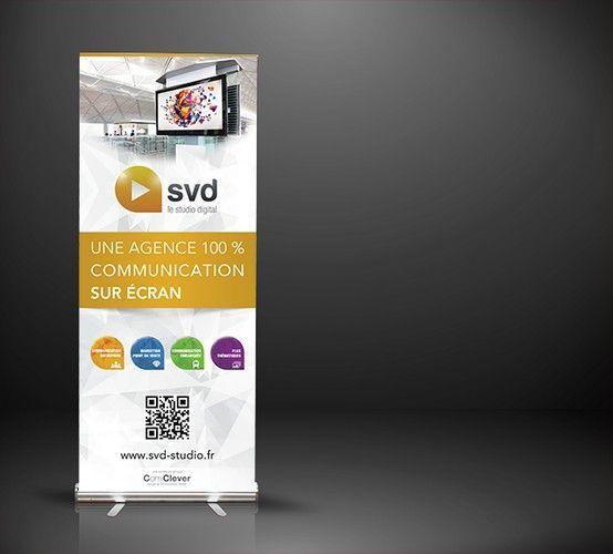 Kakémono nouvelle identité de SVD Studio Digital pour salons professionnels
