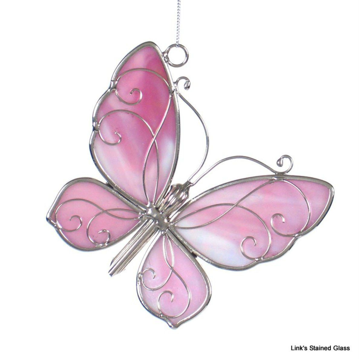 Stained Glass Pink Iridescent Butterfly sun catcher picclick.com