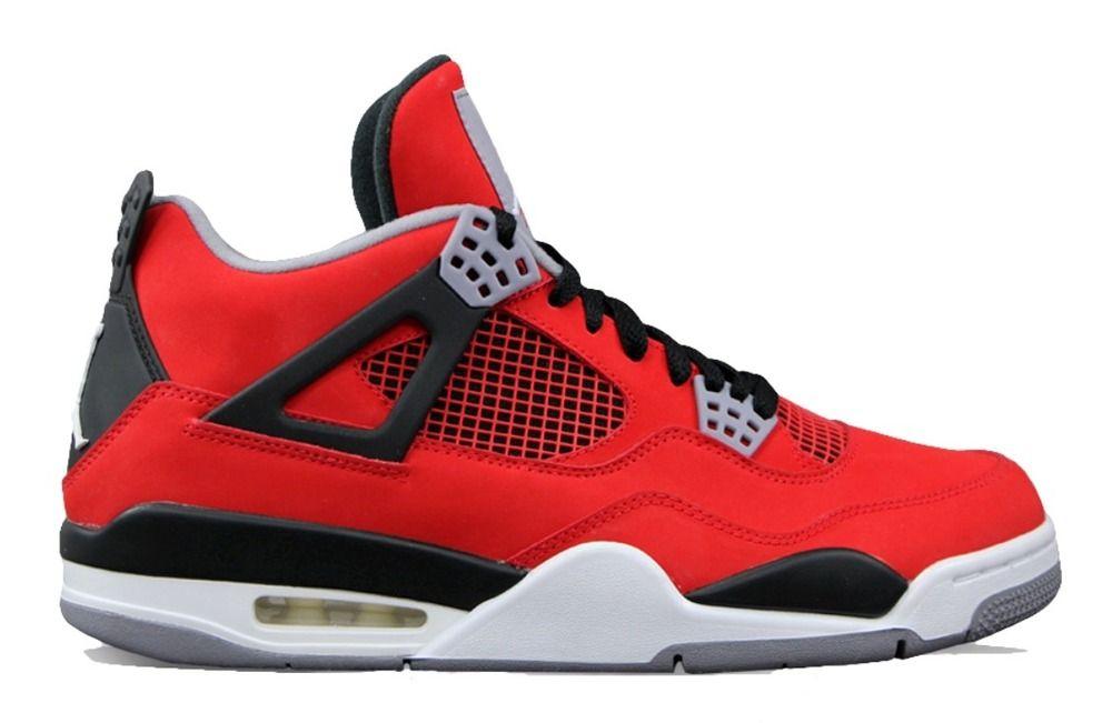 Cheap Air Jordan 4 Retro Fire Red White Black Cement Grey Men's ...