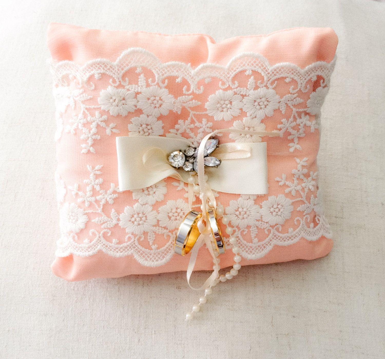 Wedding ring pillow ring bearer pillow peach ring pillow small