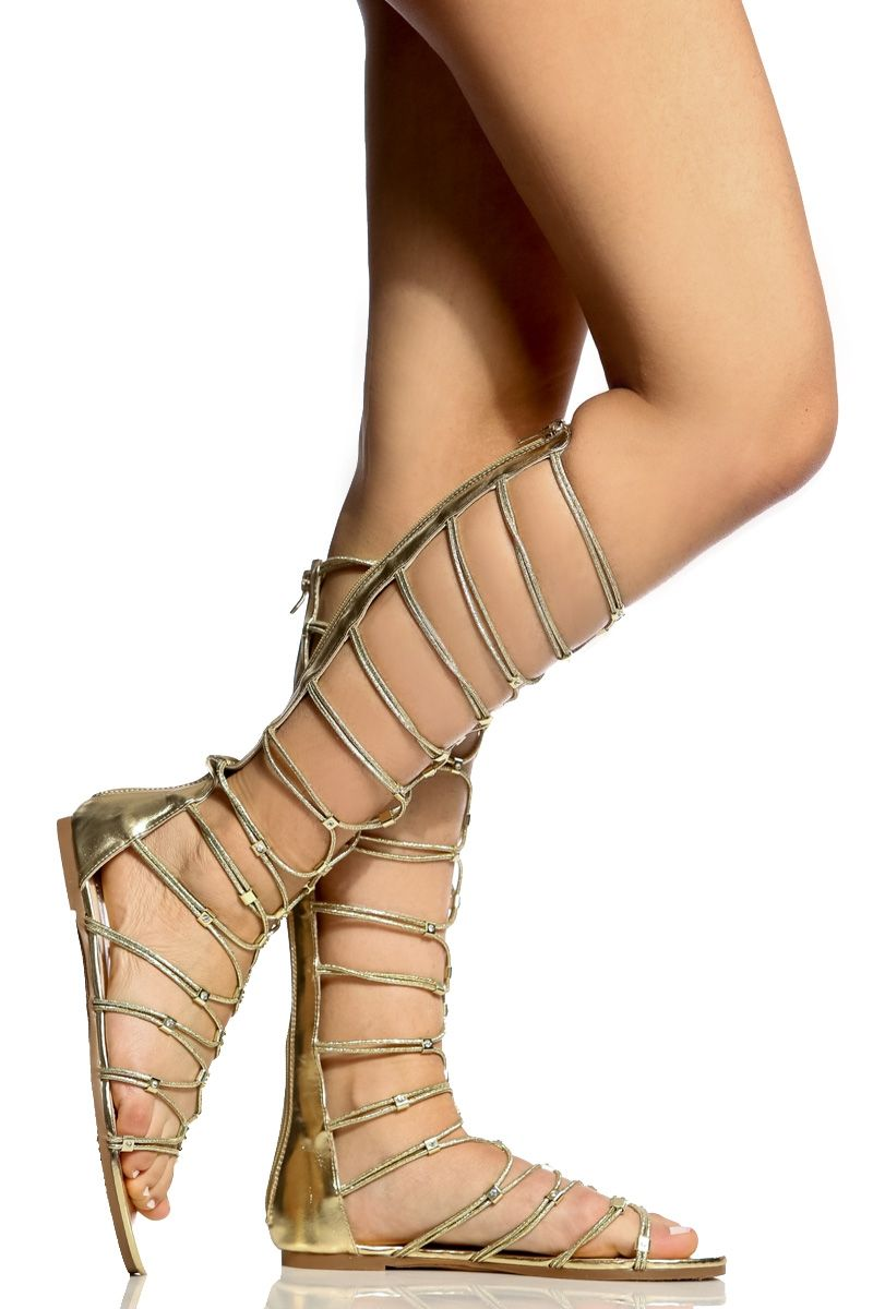 c3b269f38ad Gold Faux Leather Rhinestone Embellished Gladiator Sandals   Cicihot  Sandals Shoes online store sale Sandals