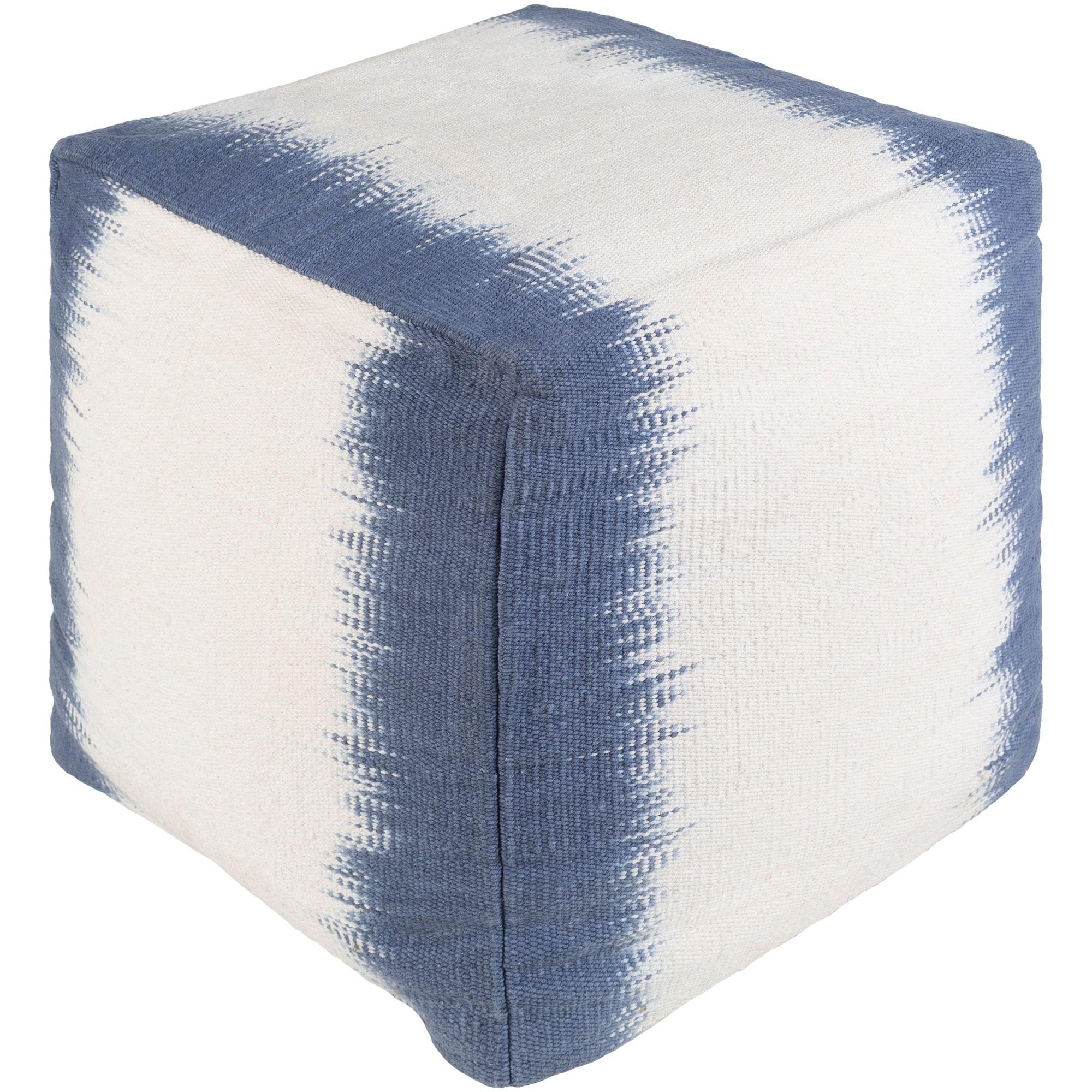 Admirable Acerra Modern Abstract Denim 18 Inch Pouf Blue Size 16 X Creativecarmelina Interior Chair Design Creativecarmelinacom